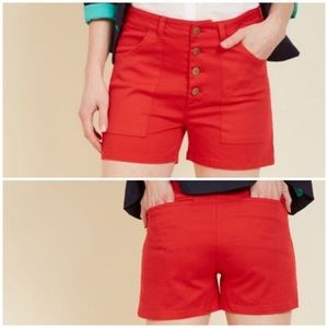 ModCloth Button Fly High Waisted Shorts Red Sz L